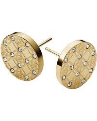 Michael Kors Gold-Tone And Glitz Logo Etch Earrings - Lyst