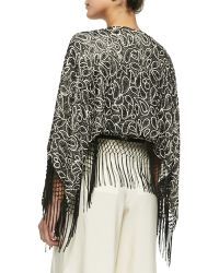 Alice + Olivia - Bae Embroidered Beaded Fringe Shawl - Lyst