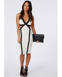 Missguided Aditi Bandage Contrast Binded Cut Out Midi Dress Cream - Lyst