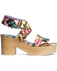 H&M Patterned Platform Sandals beige - Lyst