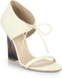 Burberry Norwood Leather Wedge Sandals - Lyst