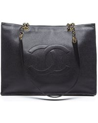 Chanel Pre-Owned Caviar Cc Xl Shopper Tote Bag - Lyst