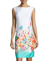 Chetta B Floral-Print Sleeveless Sheath Dress - Lyst