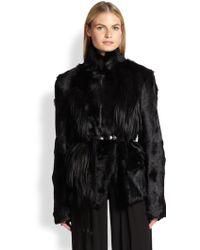 Donna Karan New York Belted Goat-Fur Coat - Lyst