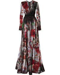 Elie Saab Striped Satin Organza Gown - Lyst