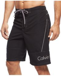 Calvin Klein Solid Swim Shorts black - Lyst