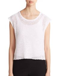Eileen Fisher Linen & Cotton Draped-Back Top - Lyst