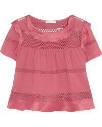 Etoile Isabel Marant Cole Crochet-paneled Cotton-blend Top - Lyst