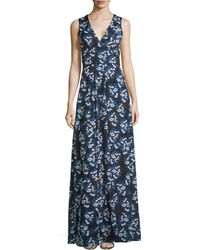 Zac Posen Sleeveless Floral Maxi Dress - Lyst