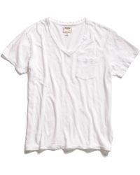 Todd Snyder Pocket V-Neck T-Shirt In White - Lyst