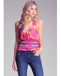 Bebe Smocked Halter Top - Lyst