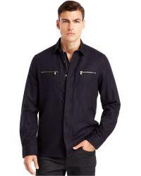 Kenneth Cole New York Zip Shirt Jacket - Lyst
