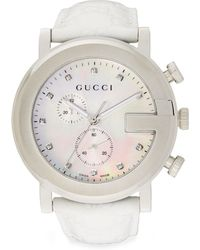 Gucci Diamond  Stainless Steel Chronograph Strap Watch - Lyst