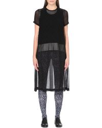 Comme Des Garçons Knittedpanel Sheer Chiffon Dress Black - Lyst