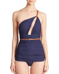 Michael Kors One-Piece Belted One-Shoulder Swimsuit blue - Lyst
