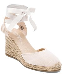 Soludos Tall Linen Wedge - Lyst