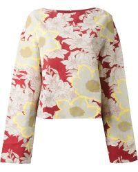 Marni Floral Linen-Blend Top red - Lyst