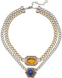 Sam Edelman Girls Club 2 Row Stone Clear Necklace - Lyst