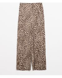 Zara Animal Print Loose Trousers - Lyst