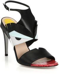 Fendi Bugs Leather & Lizard-Embossed Leather Sandals black - Lyst