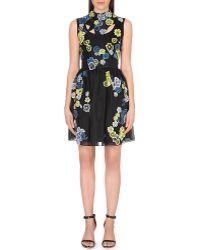 Erdem Floral-embroidered Silk Dress - Lyst