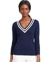 Lauren by Ralph Lauren V-Neck Cable Knit Sweater - Lyst
