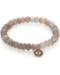 Sydney Evan Diamond, Sapphire, Grey Moonstone & 14K Yellow Gold Evil Eye Beaded Stretch Bracelet - Lyst