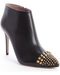 Gucci Black Leather Brass Studding Heel Booties - Lyst