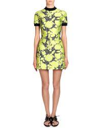 Balenciaga Short-Sleeved Floral-Jacquard Mini Dress - Lyst