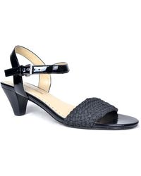 Adrienne Vittadini Carinda Woven Leather Heeled Sandals - Lyst