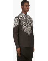 Alexander McQueen Black and Ivory Lace_print Shirt - Lyst