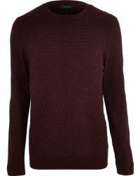 River Island Dark Red Textured Sweater - Lyst