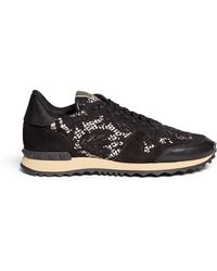 Valentino Leather Combo Lace Sneakers - Lyst