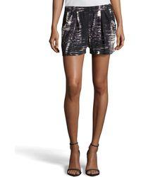 BCBGMAXAZRIA Micah Brushstroke Print Pintuck Slip Shorts - Lyst