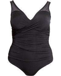 H&M + Draped Swimsuit black - Lyst