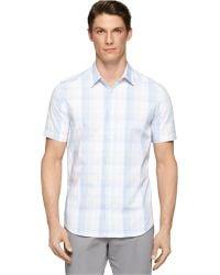Calvin Klein Medium Plaid Multi-Check Shirt - Lyst