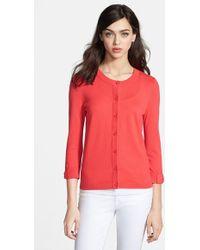 Kate Spade 'Somerset' Cotton Blend Cardigan red - Lyst