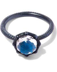 Larkspur & Hawk - Oxidised Silver Bella Blue Quartz Stacking Ring - Lyst