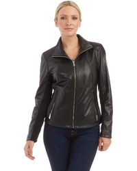 Kenneth Cole Zip Front Moto Jacket - Lyst