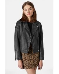 Topshop Sheepskin-Leather Biker Jacket - Lyst