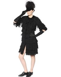 Lanvin Fringed Wool Blend Coat - Lyst