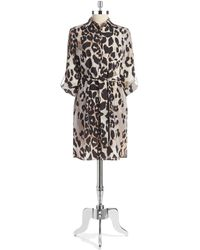 Eliza J Animal Print Shirt Dress - Lyst