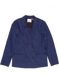 Giada Forte - Linen Cotton Doublebreasted Jacket In Indigo - Lyst
