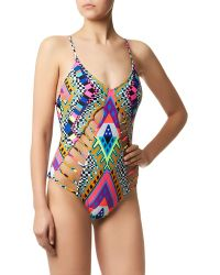 Mara Hoffman Lattice Swimsuit - Lyst