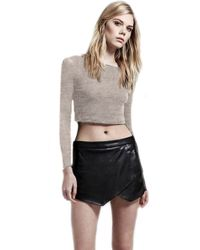 Lanston Long Sleeve Cropped Boatneck Top In Grey - Lyst