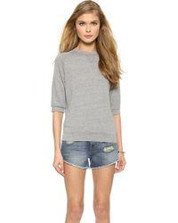 True Religion Joan Smalls X Short Sleeve Sweatshirt - Heather Grey - Lyst