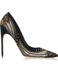Brian Atwood Alis Laser Studs Suede And Mesh Pumps - Lyst