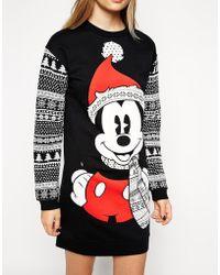 Asos Sweater Dress in Holidays Mickey Mouse Fairisle Print - Lyst