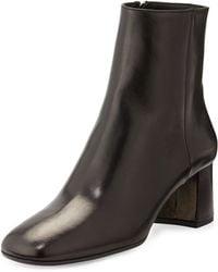 Prada Leather Block-heel Bootie - Lyst