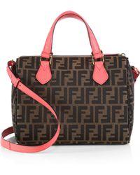 Fendi Zucca Contrast-Trim Fabric Boston Bag - Lyst